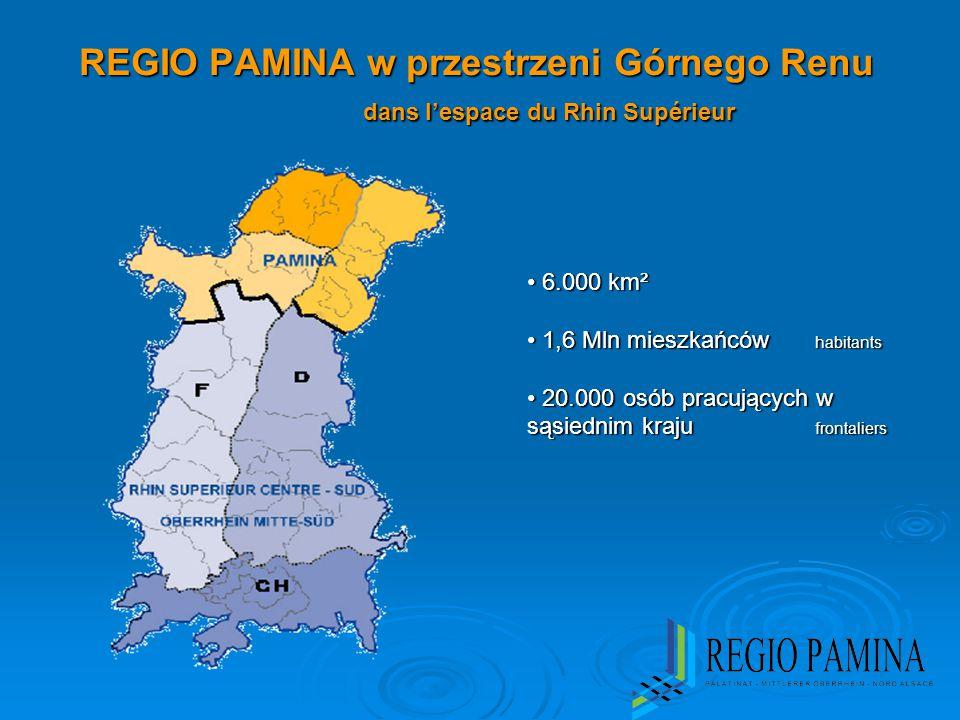 REGIO PAMINA w przestrzeni Górnego Renu dans l'espace du Rhin Supérieur 6.000 km² 6.000 km² 1,6 Mln mieszkańców habitants 1,6 Mln mieszkańców habitants 20.000 osób pracujących w sąsiednim kraju frontaliers 20.000 osób pracujących w sąsiednim kraju frontaliers