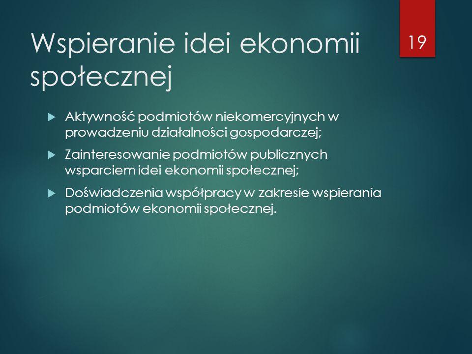 Wspieranie idei ekonomii społecznej  Aktywność podmiotów niekomercyjnych w prowadzeniu działalności gospodarczej;  Zainteresowanie podmiotów publicznych wsparciem idei ekonomii społecznej;  Doświadczenia współpracy w zakresie wspierania podmiotów ekonomii społecznej.