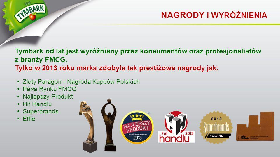 Złoty Paragon - Nagroda Kupców Polskich Perła Rynku FMCG Najlepszy Produkt Hit Handlu Superbrands Effie Tymbark od lat jest wyróżniany przez konsument