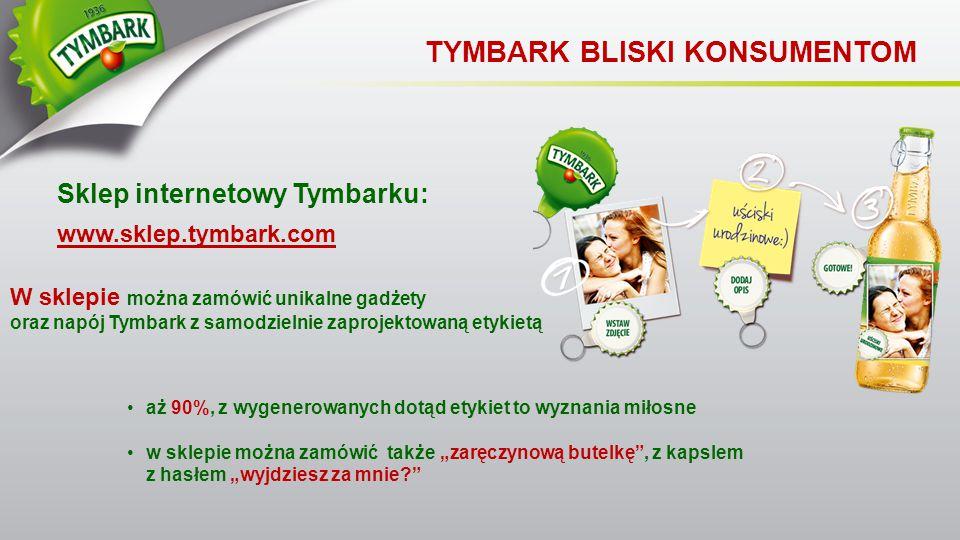 Sklep internetowy Tymbarku: www.sklep.tymbark.com TYMBARK BLISKI KONSUMENTOM W sklepie można zamówić unikalne gadżety oraz napój Tymbark z samodzielni