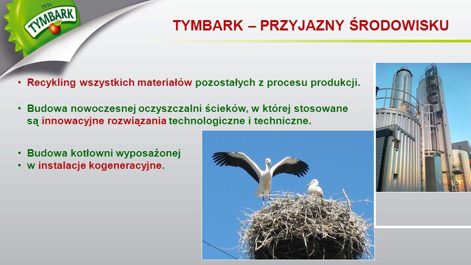 TYMBARK – PRZYJAZNY ŚRODOWISKU Recykling wszystkich materiałów pozostałych z procesu produkcji. Budowa nowoczesnej oczyszczalni ścieków, w której stos