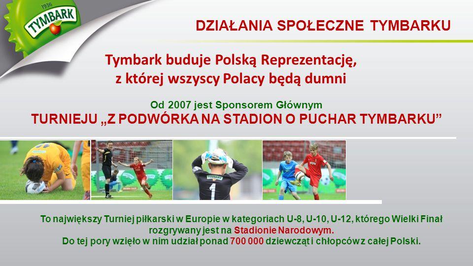 """Od 2007 jest Sponsorem Głównym TURNIEJU """"Z PODWÓRKA NA STADION O PUCHAR TYMBARKU"""" DZIAŁANIA SPOŁECZNE TYMBARKU Tymbark buduje Polską Reprezentację, z"""