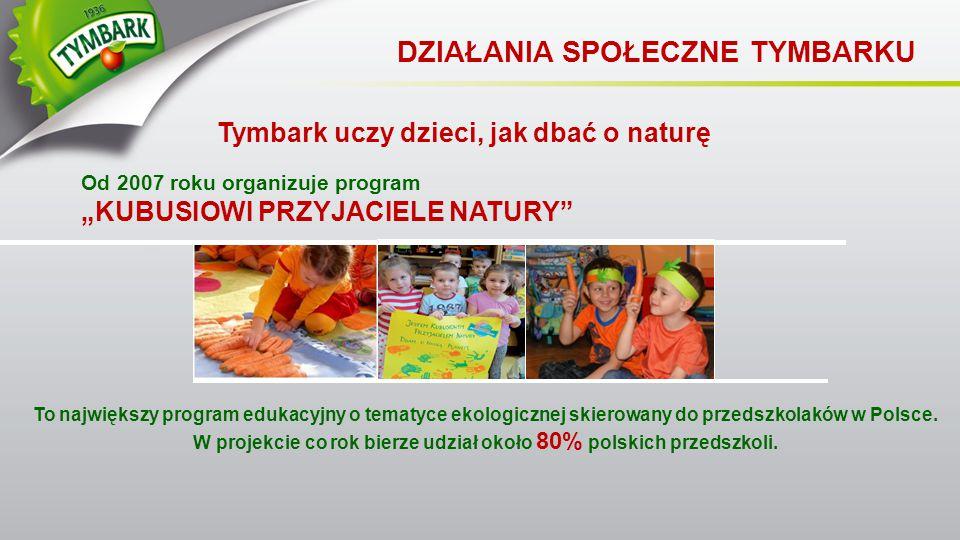 """Tymbark uczy dzieci, jak dbać o naturę DZIAŁANIA SPOŁECZNE TYMBARKU Od 2007 roku organizuje program """"KUBUSIOWI PRZYJACIELE NATURY"""" To największy progr"""