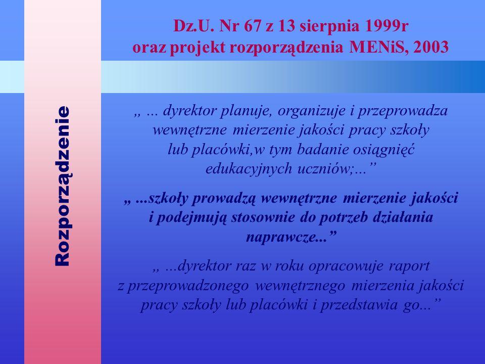 """Dz.U. Nr 67 z 13 sierpnia 1999r oraz projekt rozporządzenia MENiS, 2003 """"... dyrektor planuje, organizuje i przeprowadza wewnętrzne mierzenie jakości"""