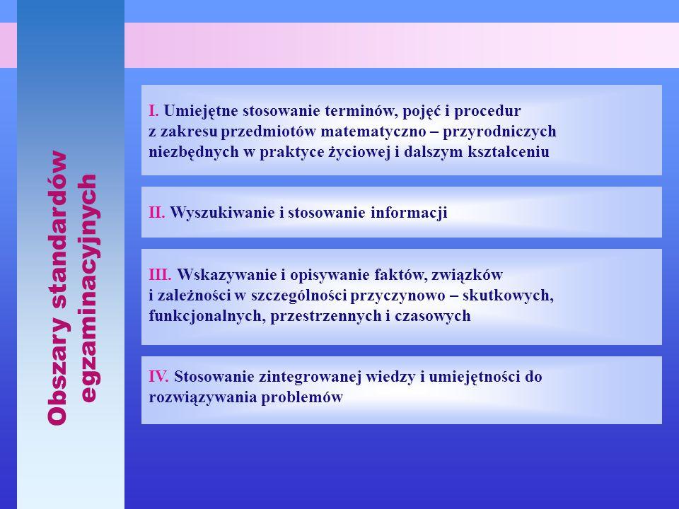 Obszary standardów egzaminacyjnych I. Umiejętne stosowanie terminów, pojęć i procedur z zakresu przedmiotów matematyczno – przyrodniczych niezbędnych