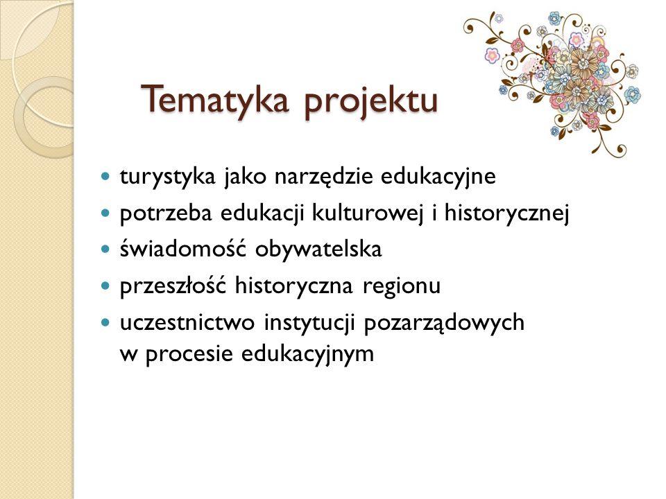 Tematyka projektu turystyka jako narzędzie edukacyjne potrzeba edukacji kulturowej i historycznej świadomość obywatelska przeszłość historyczna region