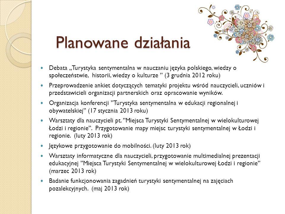 """Planowane działania Debata """"Turystyka sentymentalna w nauczaniu języka polskiego, wiedzy o społeczeństwie, historii, wiedzy o kulturze """" (3 grudnia 20"""