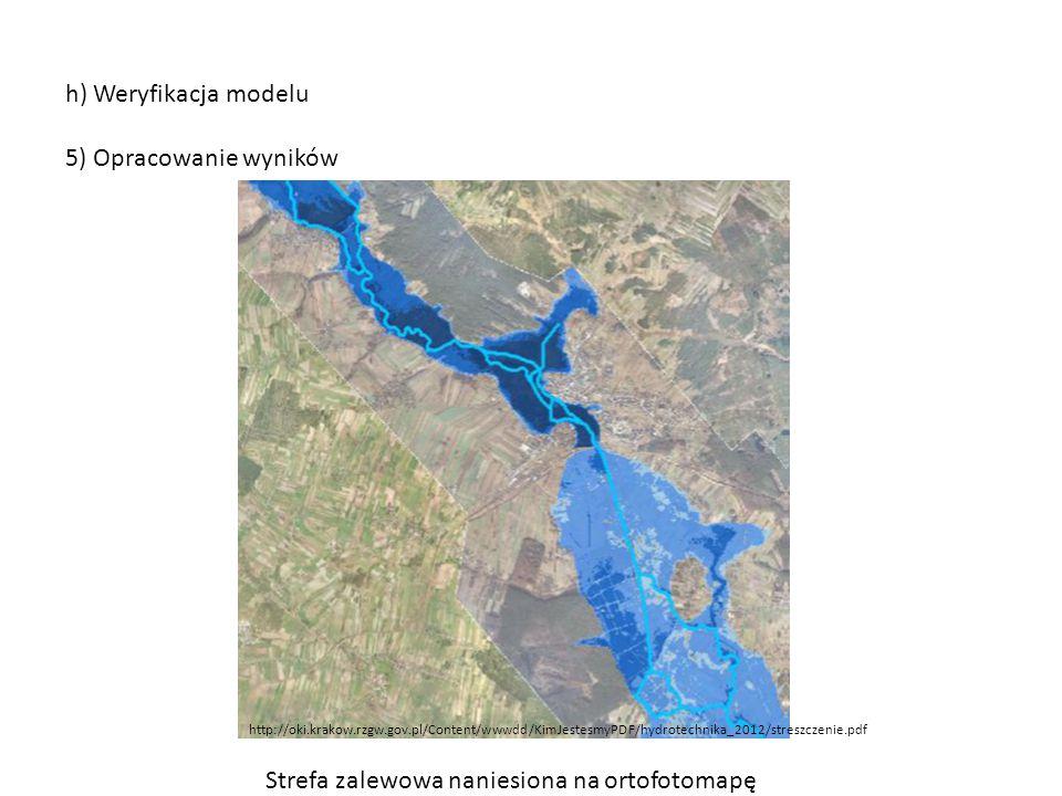 h) Weryfikacja modelu 5) Opracowanie wyników http://oki.krakow.rzgw.gov.pl/Content/wwwdd/KimJestesmyPDF/hydrotechnika_2012/streszczenie.pdf Strefa zal