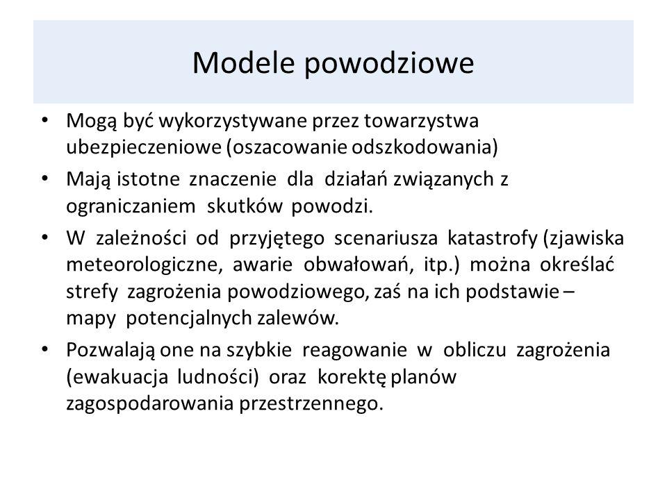 Modele powodziowe Mogą być wykorzystywane przez towarzystwa ubezpieczeniowe (oszacowanie odszkodowania) Mają istotne znaczenie dla działań związanych