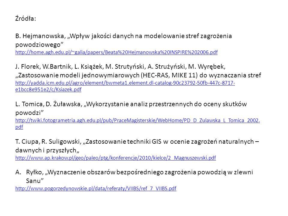 """Źródła: B. Hejmanowska, """"Wpływ jakości danych na modelowanie stref zagrożenia powodziowego"""" http://home.agh.edu.pl/~galia/papers/Beata%20Hejmanowska%2"""