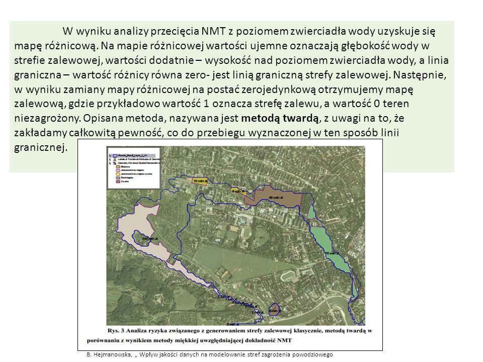 W wyniku analizy przecięcia NMT z poziomem zwierciadła wody uzyskuje się mapę różnicową. Na mapie różnicowej wartości ujemne oznaczają głębokość wody