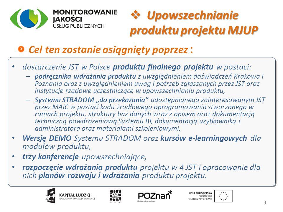 dostarczenie JST w Polsce produktu finalnego projektu w postaci: – podręcznika wdrażania produktu z uwzględnieniem doświadczeń Krakowa i Poznania oraz