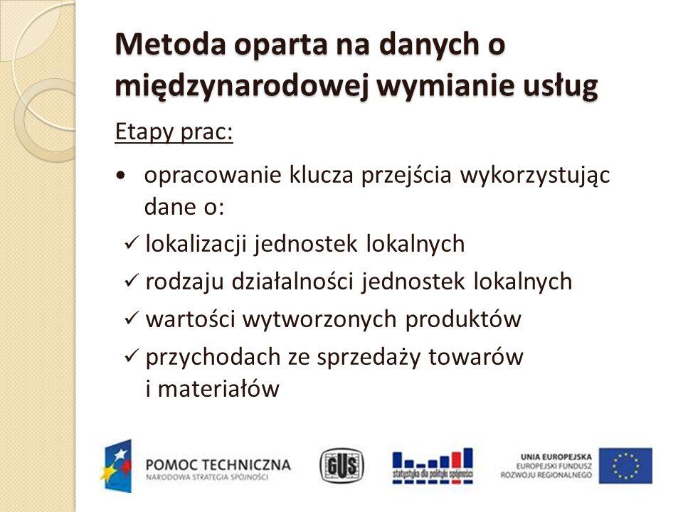 Metoda oparta na danych o międzynarodowej wymianie usług Etapy prac: opracowanie klucza przejścia wykorzystując dane o: lokalizacji jednostek lokalnyc