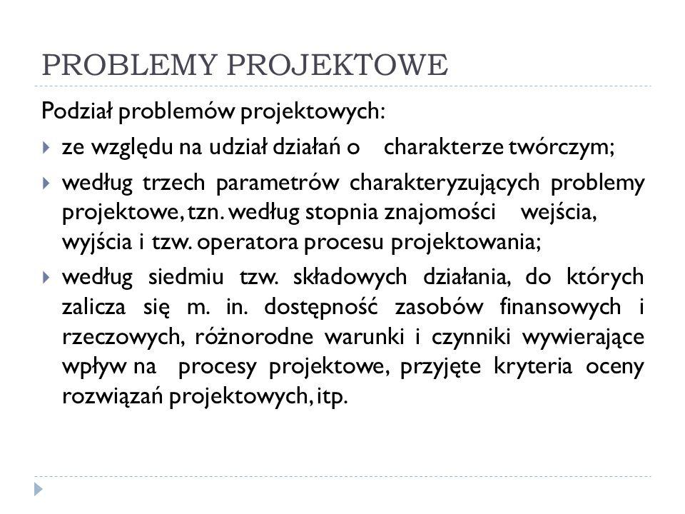 PODZIAŁ PROBLEMÓW PROJEKTOWYCH ZE WZGLĘDU NA UDZIAŁ DZIAŁAŃ O CHARAKTERZE TWÓRCZYM  Problemy projektowe, których rozwiązanie prowadzi do opracowania nowej koncepcji wykonania zadania, którym może być np.