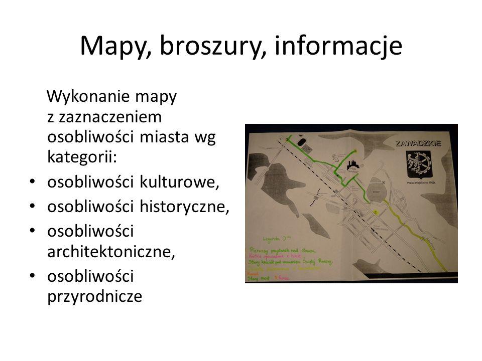 Mapy, broszury, informacje Wykonanie mapy z zaznaczeniem osobliwości miasta wg kategorii: osobliwości kulturowe, osobliwości historyczne, osobliwości architektoniczne, osobliwości przyrodnicze