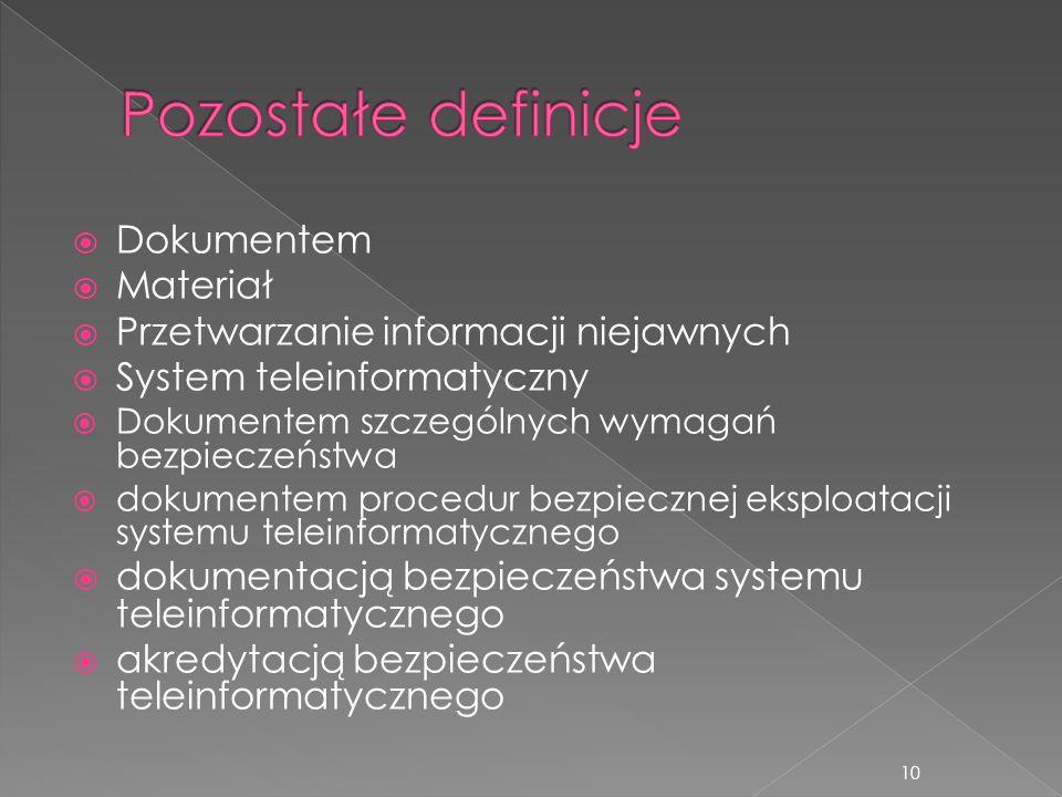  Dokumentem  Materiał  Przetwarzanie informacji niejawnych  System teleinformatyczny  Dokumentem szczególnych wymagań bezpieczeństwa  dokumentem