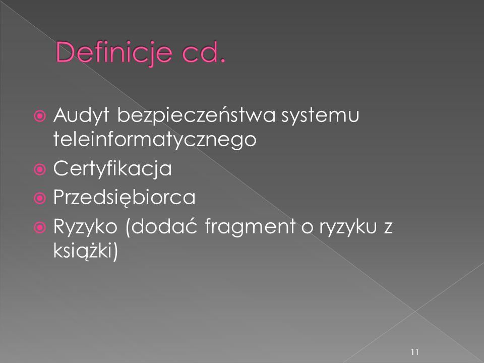  Audyt bezpieczeństwa systemu teleinformatycznego  Certyfikacja  Przedsiębiorca  Ryzyko (dodać fragment o ryzyku z książki) 11