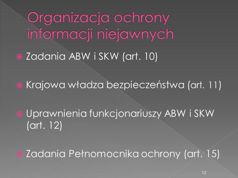  Zadania ABW i SKW (art. 10)  Krajowa władza bezpieczeństwa ( art. 11 )  Uprawnienia funkcjonariuszy ABW i SKW (art. 12)  Zadania Pełnomocnika och