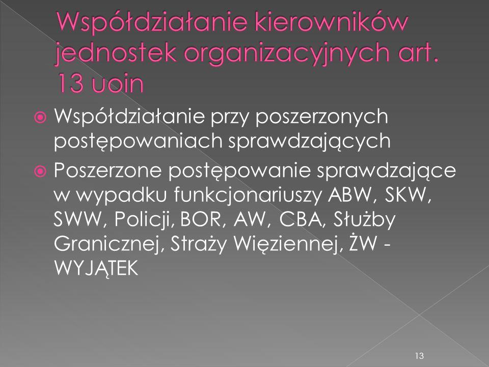  Współdziałanie przy poszerzonych postępowaniach sprawdzających  Poszerzone postępowanie sprawdzające w wypadku funkcjonariuszy ABW, SKW, SWW, Polic