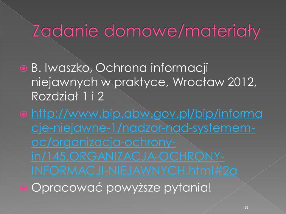  B. Iwaszko, Ochrona informacji niejawnych w praktyce, Wrocław 2012, Rozdział 1 i 2  http://www.bip.abw.gov.pl/bip/informa cje-niejawne-1/nadzor-nad