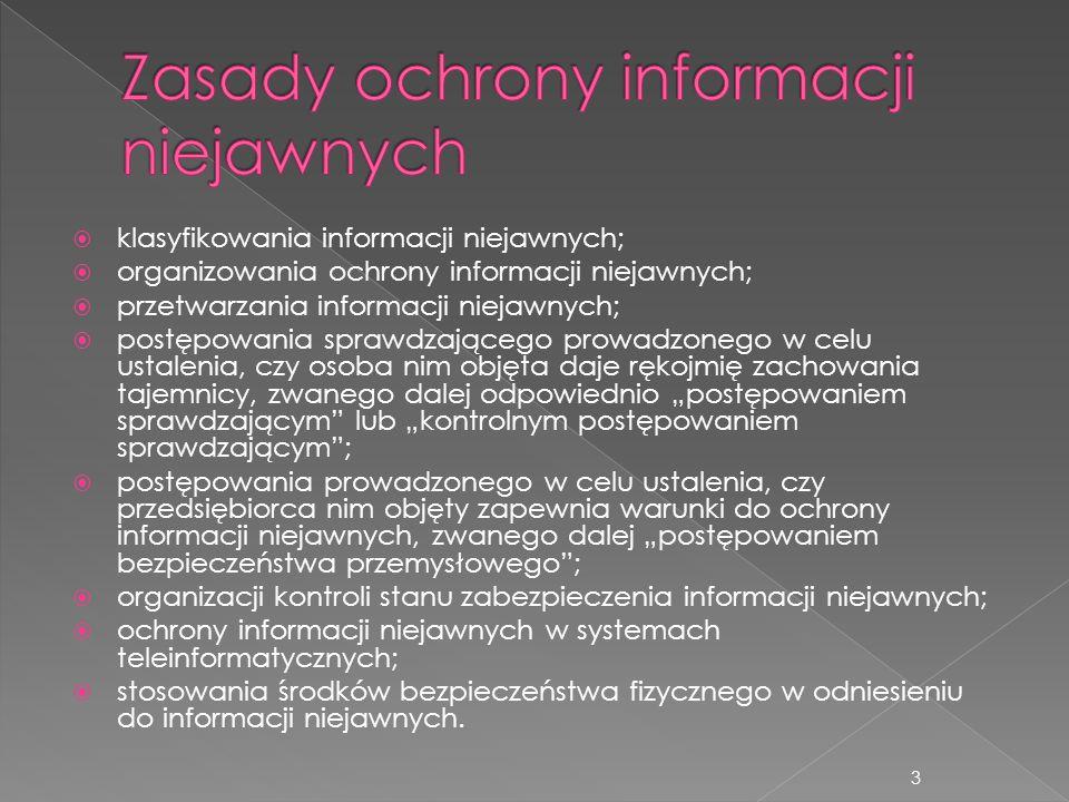 klasyfikowania informacji niejawnych;  organizowania ochrony informacji niejawnych;  przetwarzania informacji niejawnych;  postępowania sprawdzaj