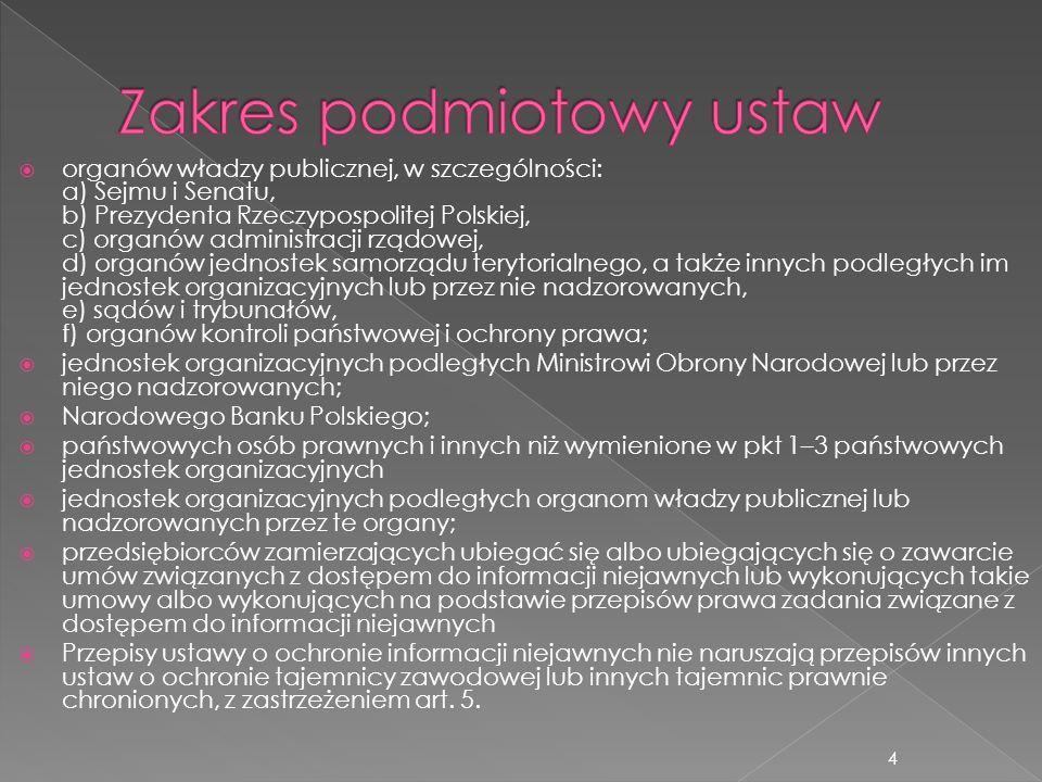  Informacje niejawne – to informacje, których nieuprawnione ujawnienie spowodowałoby lub mogłoby spowodować szkody dla Rzeczypospolitej Polskiej albo byłoby z punktu widzenia jej interesów niekorzystne, także w trakcie ich opracowywania oraz niezależnie od formy i sposobu ich wyrażania.
