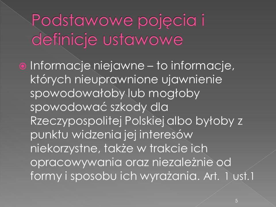  Informacje niejawne – to informacje, których nieuprawnione ujawnienie spowodowałoby lub mogłoby spowodować szkody dla Rzeczypospolitej Polskiej albo