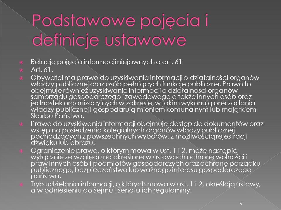  Relacja pojęcia informacji niejawnych a art. 61  Art. 61.  Obywatel ma prawo do uzyskiwania informacji o działalności organów władzy publicznej or