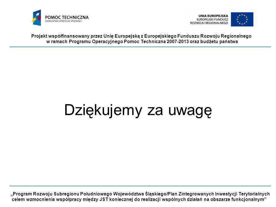 """Projekt współfinansowany przez Unię Europejską z Europejskiego Funduszu Rozwoju Regionalnego w ramach Programu Operacyjnego Pomoc Techniczna 2007-2013 oraz budżetu państwa """"Program Rozwoju Subregionu Południowego Województwa Śląskiego/Plan Zintegrowanych Inwestycji Terytorialnych celem wzmocnienia współpracy między JST koniecznej do realizacji wspólnych działań na obszarze funkcjonalnym Dziękujemy za uwagę"""