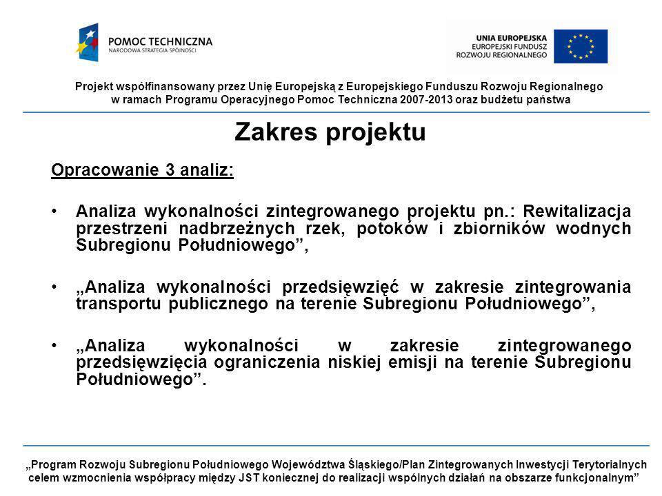 """Projekt współfinansowany przez Unię Europejską z Europejskiego Funduszu Rozwoju Regionalnego w ramach Programu Operacyjnego Pomoc Techniczna 2007-2013 oraz budżetu państwa """"Program Rozwoju Subregionu Południowego Województwa Śląskiego/Plan Zintegrowanych Inwestycji Terytorialnych celem wzmocnienia współpracy między JST koniecznej do realizacji wspólnych działań na obszarze funkcjonalnym Zakres projektu Opracowanie 3 analiz: Analiza wykonalności zintegrowanego projektu pn.: Rewitalizacja przestrzeni nadbrzeżnych rzek, potoków i zbiorników wodnych Subregionu Południowego , """"Analiza wykonalności przedsięwzięć w zakresie zintegrowania transportu publicznego na terenie Subregionu Południowego , """"Analiza wykonalności w zakresie zintegrowanego przedsięwzięcia ograniczenia niskiej emisji na terenie Subregionu Południowego ."""