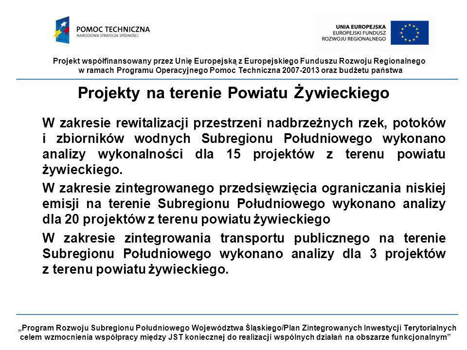 """Projekt współfinansowany przez Unię Europejską z Europejskiego Funduszu Rozwoju Regionalnego w ramach Programu Operacyjnego Pomoc Techniczna 2007-2013 oraz budżetu państwa """"Program Rozwoju Subregionu Południowego Województwa Śląskiego/Plan Zintegrowanych Inwestycji Terytorialnych celem wzmocnienia współpracy między JST koniecznej do realizacji wspólnych działań na obszarze funkcjonalnym Projekty na terenie Powiatu Żywieckiego W zakresie rewitalizacji przestrzeni nadbrzeżnych rzek, potoków i zbiorników wodnych Subregionu Południowego wykonano analizy wykonalności dla 15 projektów z terenu powiatu żywieckiego."""