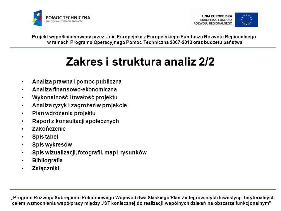 """Projekt współfinansowany przez Unię Europejską z Europejskiego Funduszu Rozwoju Regionalnego w ramach Programu Operacyjnego Pomoc Techniczna 2007-2013 oraz budżetu państwa """"Program Rozwoju Subregionu Południowego Województwa Śląskiego/Plan Zintegrowanych Inwestycji Terytorialnych celem wzmocnienia współpracy między JST koniecznej do realizacji wspólnych działań na obszarze funkcjonalnym Zakres i struktura analiz 2/2 Analiza prawna i pomoc publiczna Analiza finansowo-ekonomiczna Wykonalność i trwałość projektu Analiza ryzyk i zagrożeń w projekcie Plan wdrożenia projektu Raport z konsultacji społecznych Zakończenie Spis tabel Spis wykresów Spis wizualizacji, fotografii, map i rysunków Bibliografia Załączniki"""