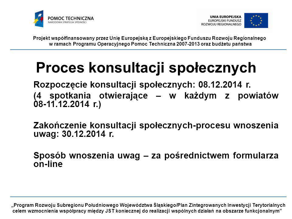 """Projekt współfinansowany przez Unię Europejską z Europejskiego Funduszu Rozwoju Regionalnego w ramach Programu Operacyjnego Pomoc Techniczna 2007-2013 oraz budżetu państwa """"Program Rozwoju Subregionu Południowego Województwa Śląskiego/Plan Zintegrowanych Inwestycji Terytorialnych celem wzmocnienia współpracy między JST koniecznej do realizacji wspólnych działań na obszarze funkcjonalnym Proces konsultacji społecznych Rozpoczęcie konsultacji społecznych: 08.12.2014 r."""