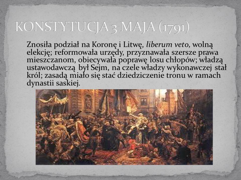Znosiła podział na Koronę i Litwę, liberum veto, wolną elekcję; reformowała urzędy, przyznawała szersze prawa mieszczanom, obiecywała poprawę losu chł