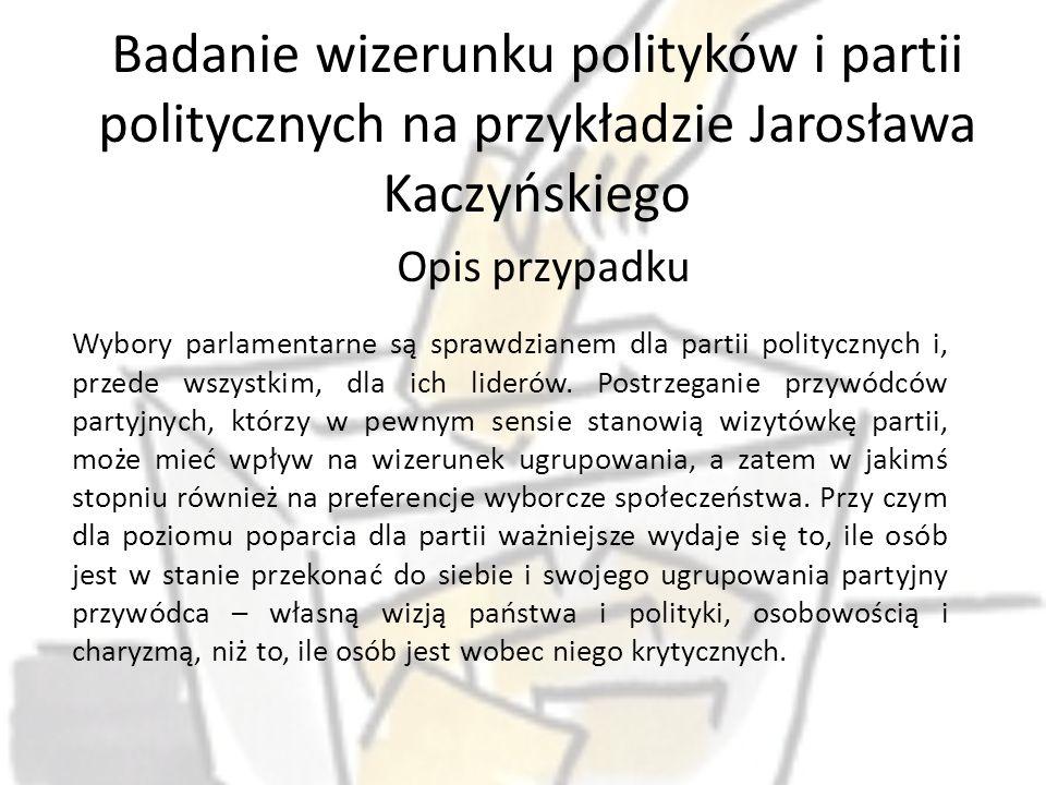 Badanie wizerunku polityków i partii politycznych na przykładzie Jarosława Kaczyńskiego Opis przypadku Wybory parlamentarne są sprawdzianem dla partii