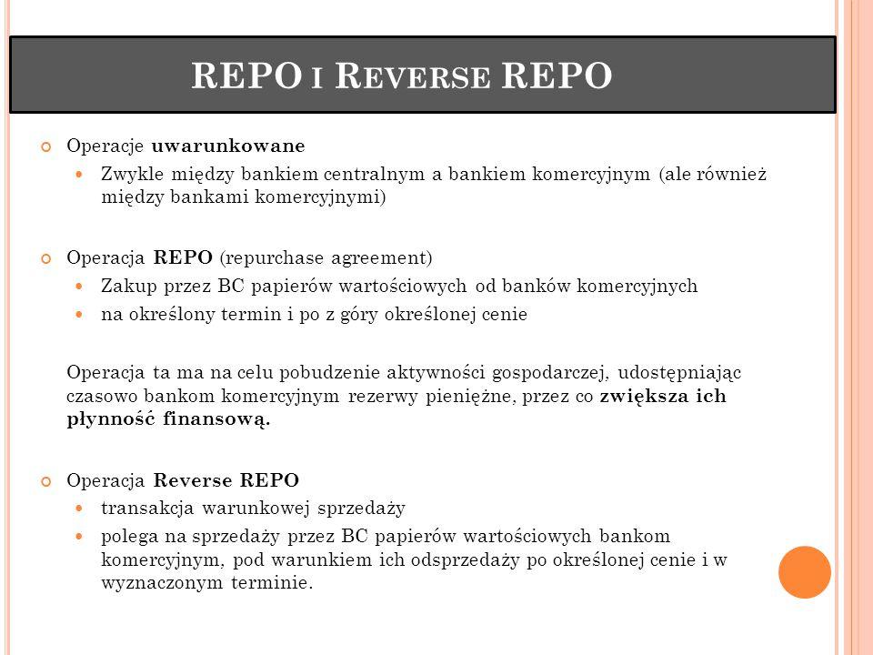 REPO I R EVERSE REPO Operacje uwarunkowane Zwykle między bankiem centralnym a bankiem komercyjnym (ale również między bankami komercyjnymi) Operacja REPO (repurchase agreement) Zakup przez BC papierów wartościowych od banków komercyjnych na określony termin i po z góry określonej cenie Operacja ta ma na celu pobudzenie aktywności gospodarczej, udostępniając czasowo bankom komercyjnym rezerwy pieniężne, przez co zwiększa ich płynność finansową.