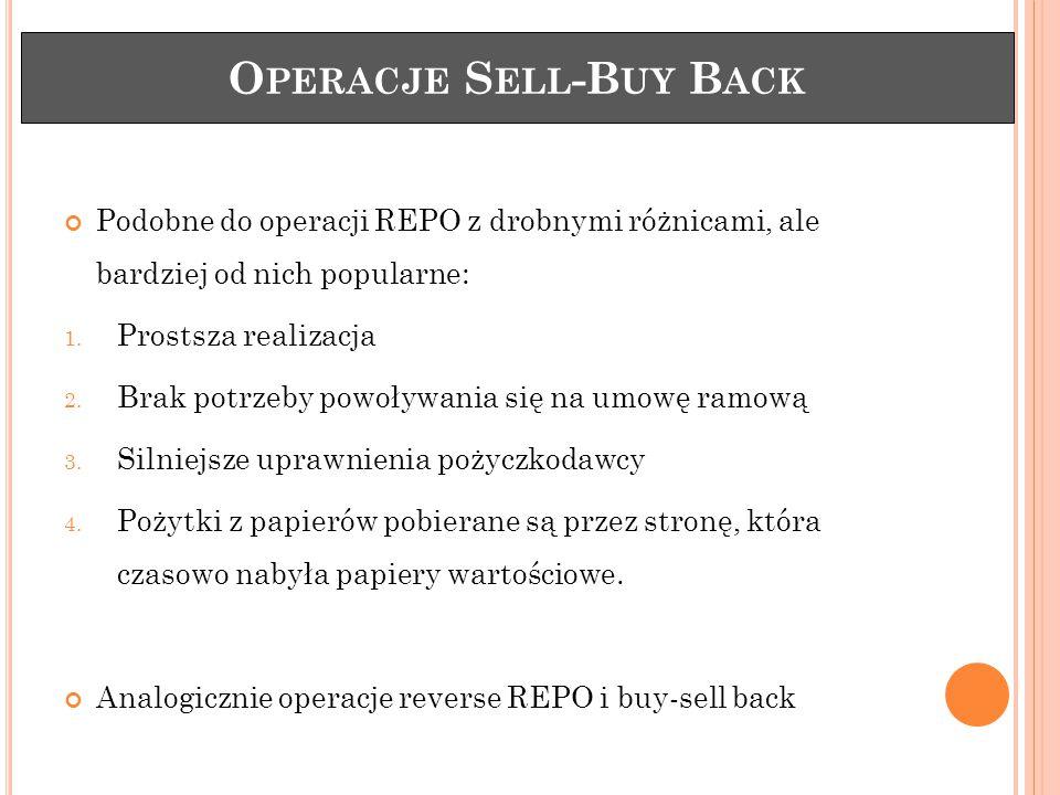 O PERACJE S ELL -B UY B ACK Podobne do operacji REPO z drobnymi różnicami, ale bardziej od nich popularne: 1.
