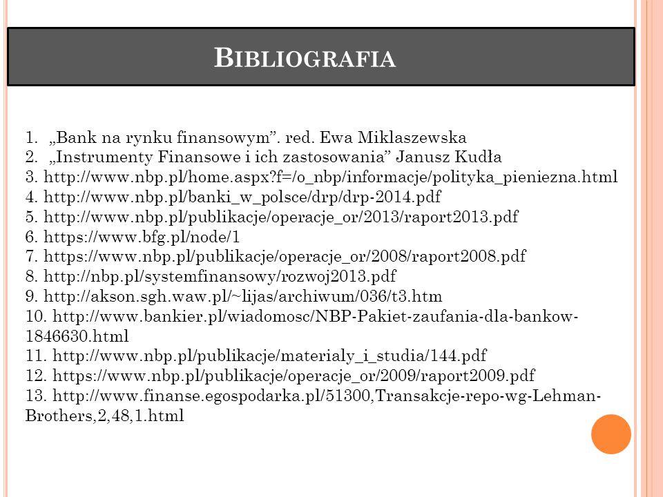 """B IBLIOGRAFIA 1.""""Bank na rynku finansowym .red."""