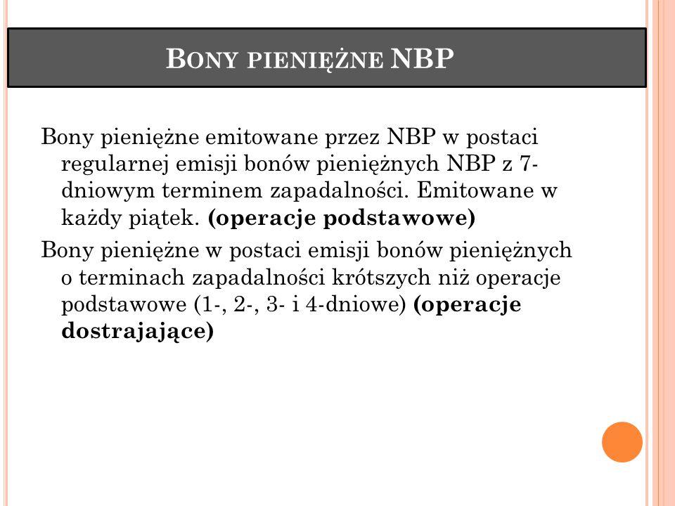 B ONY PIENIĘŻNE NBP Bony pieniężne emitowane przez NBP w postaci regularnej emisji bonów pieniężnych NBP z 7- dniowym terminem zapadalności. Emitowane