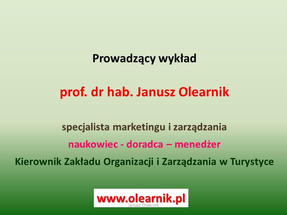 Prowadzący wykład prof. dr hab. Janusz Olearnik specjalista marketingu i zarządzania naukowiec - doradca – menedżer Kierownik Zakładu Organizacji i Za