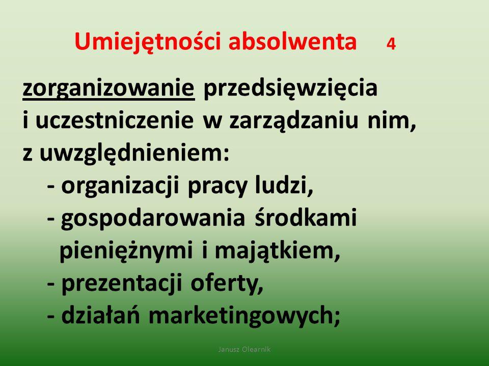 Umiejętności absolwenta 4 zorganizowanie przedsięwzięcia i uczestniczenie w zarządzaniu nim, z uwzględnieniem: - organizacji pracy ludzi, - gospodarow