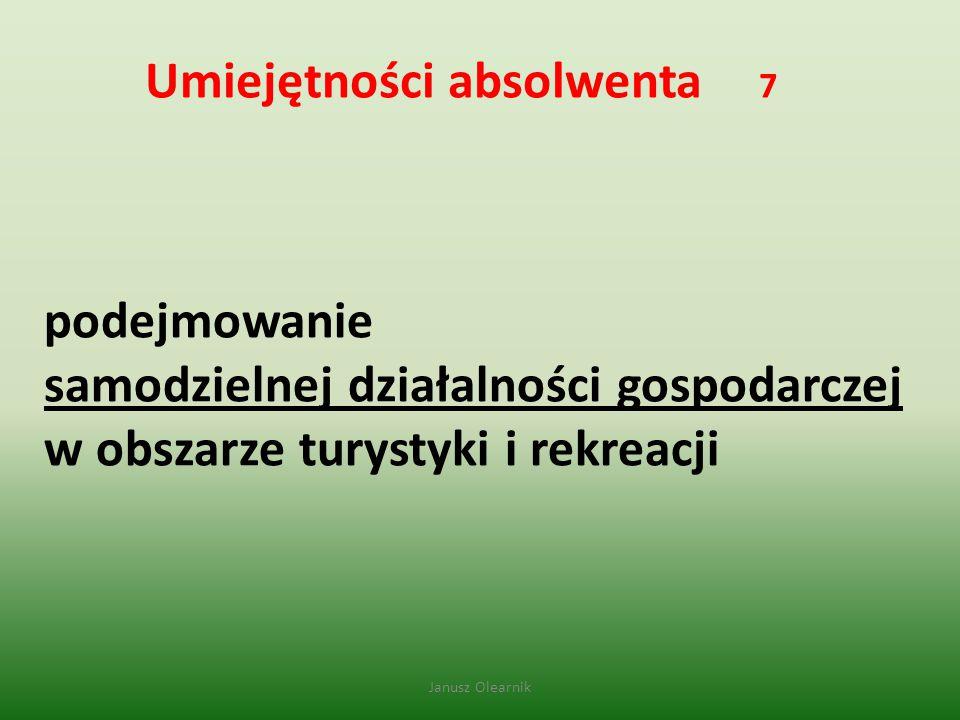 Umiejętności absolwenta 7 podejmowanie samodzielnej działalności gospodarczej w obszarze turystyki i rekreacji Janusz Olearnik
