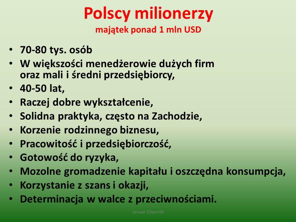 Polscy milionerzy majątek ponad 1 mln USD 70-80 tys. osób W większości menedżerowie dużych firm oraz mali i średni przedsiębiorcy, 40-50 lat, Raczej d