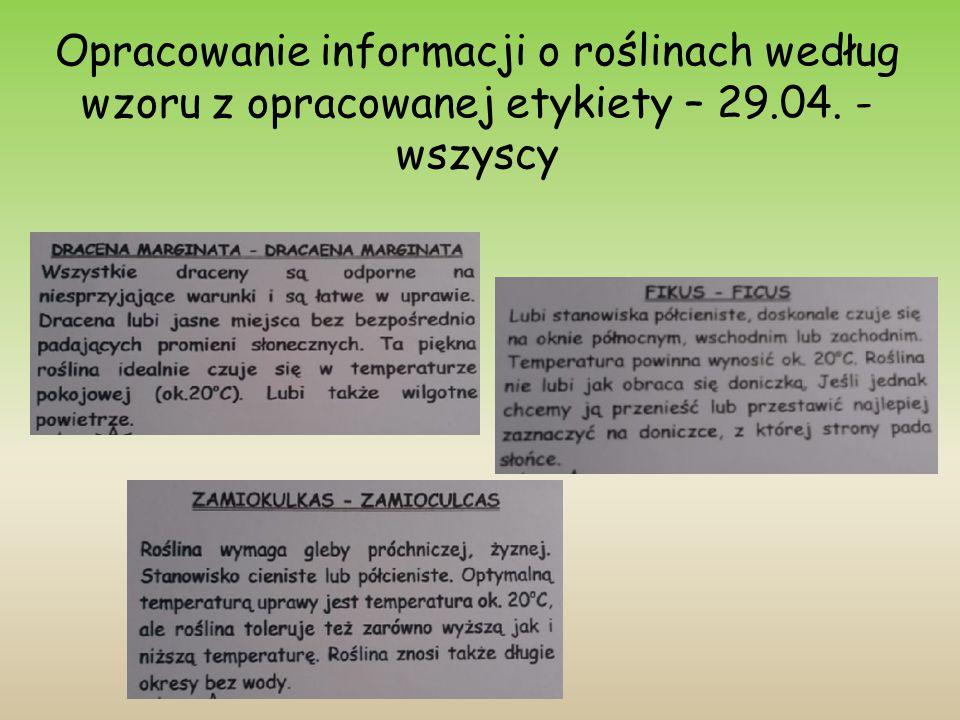 Opracowanie informacji o roślinach według wzoru z opracowanej etykiety – 29.04. - wszyscy