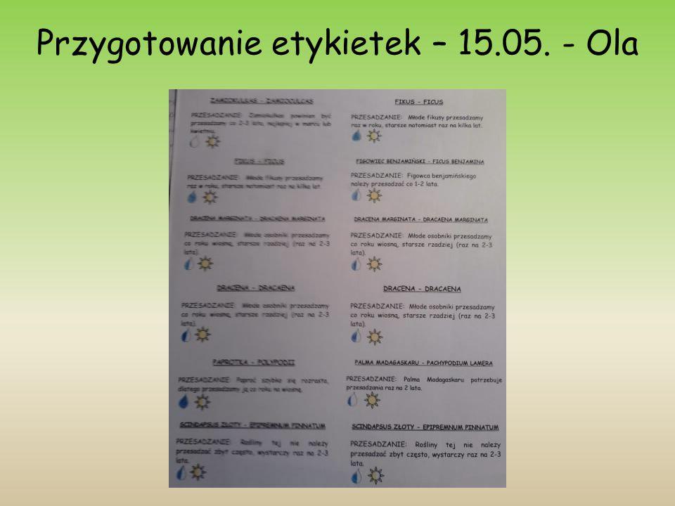 Przygotowanie etykietek – 15.05. - Ola