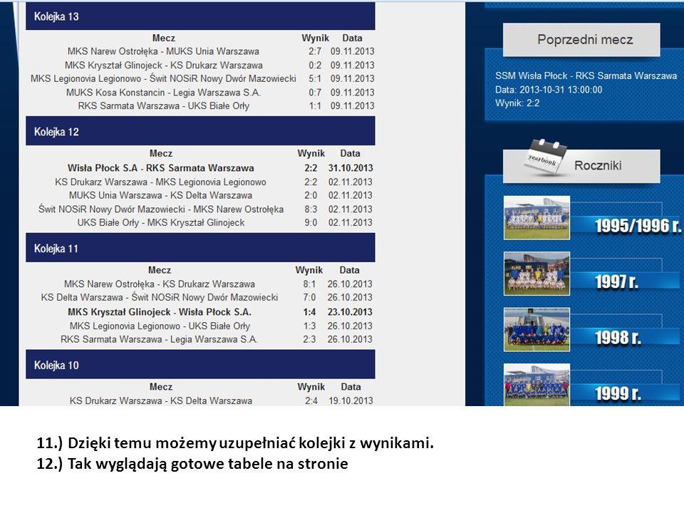 11.) Dzięki temu możemy uzupełniać kolejki z wynikami. 12.) Tak wyglądają gotowe tabele na stronie