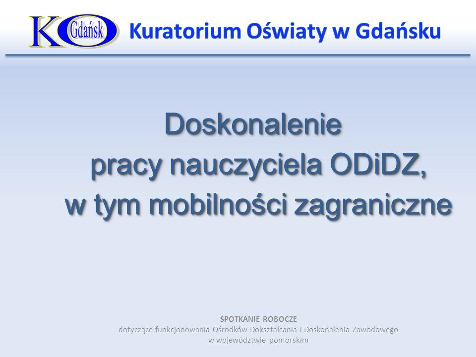 Doskonalenie pracy nauczyciela ODiDZ, w tym mobilności zagraniczne SPOTKANIE ROBOCZE dotyczące funkcjonowania Ośrodków Dokształcania i Doskonalenia Za