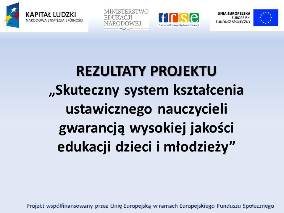 """Projekt współfinansowany przez Unię Europejską w ramach Europejskiego Funduszu Społecznego REZULTATY PROJEKTU """"Skuteczny system kształcenia ustawiczne"""