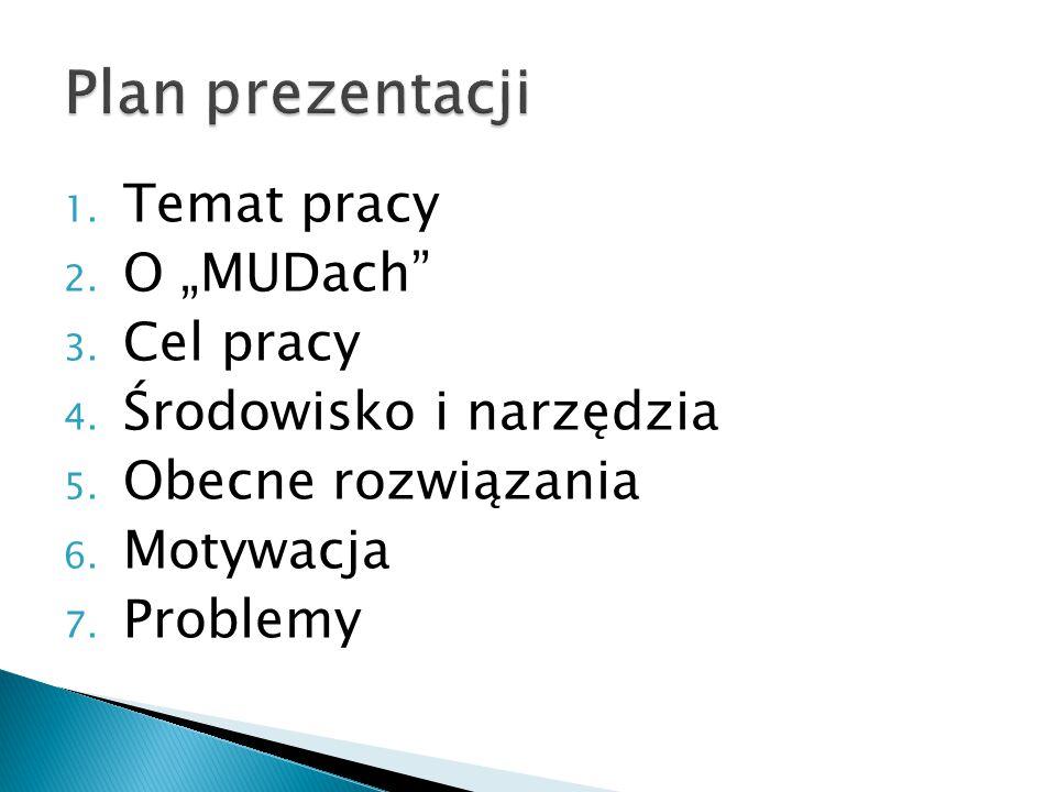 """1. Temat pracy 2. O """"MUDach"""" 3. Cel pracy 4. Środowisko i narzędzia 5. Obecne rozwiązania 6. Motywacja 7. Problemy"""