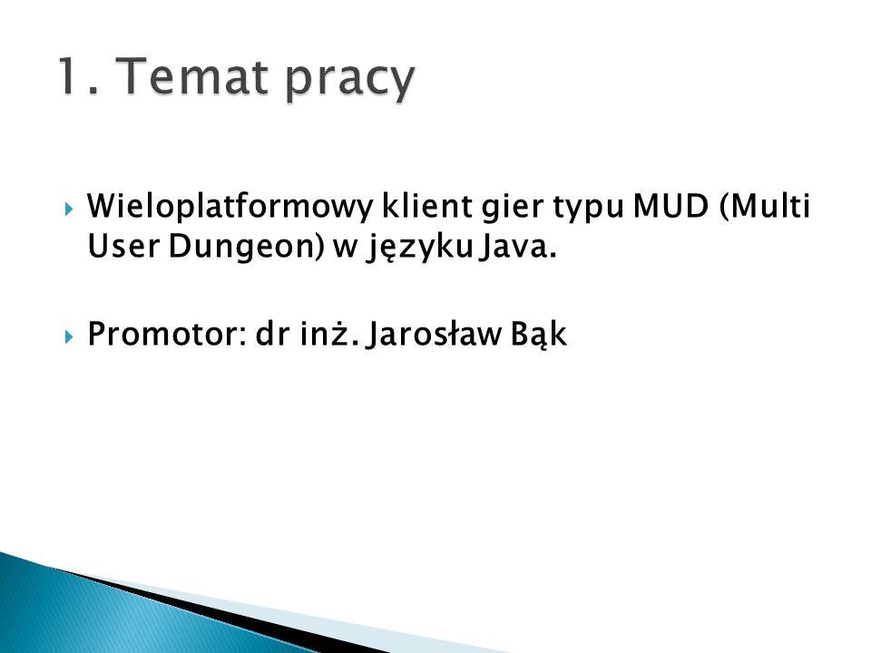  Wieloplatformowy klient gier typu MUD (Multi User Dungeon) w języku Java.  Promotor: dr inż. Jarosław Bąk
